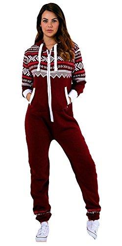Newfacelook frauen gedruckt onesie mit kapuze alle in einem zip hoodie damen Overall Trainingsanzug, L, Half-wine