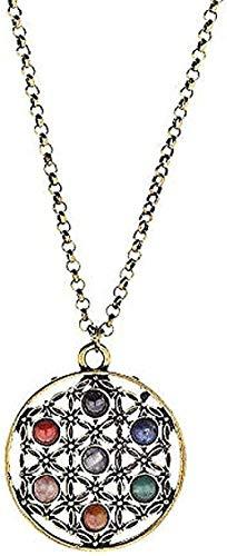 Collar Joyas Oro Reiki 7 cuentas de piedra Chakra Collares pendientes Yoga Flor de la vida Collares de geometría sagrada para mujeres Longitud 70 cm Collar con colgante de cadena Regalo para niña Coll