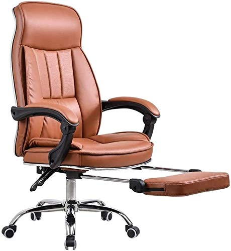 TGFVGHB Silla de oficina para el hogar o la oficina, silla giratoria de cuero, silla de oficina con pedal reclinable, silla de descanso, silla de juegos, cuero artificial para el hogar y la oficina