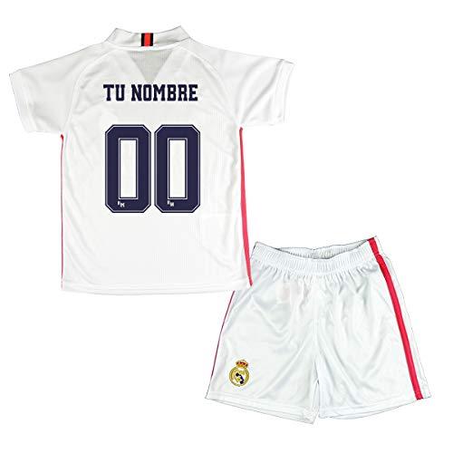 Real Madrid Conjunto Personalizable Camiseta y Pantalón Primera Equipación Infantil JR Producto Oficial Licenciado Temporada 2019-2020 Color Blanco (Blanco, Talla 8)
