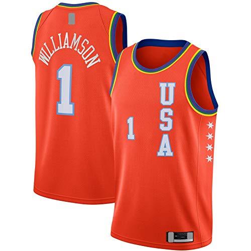 YUEJI Game Swingman Finish JerseyZion Camiseta #1 Rising Hombres Camiseta Manga Corta #1 Williamson Baloncesto Naranja - Icono Edition-M