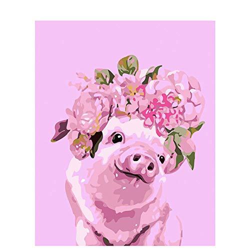 Pintar por Numeros Adultos, DIY Pintura por números Cerdo de la guirnalda con Pinceles y Pinturas Decoraciones para el Hogar sin Marco de 40 X 50 cm