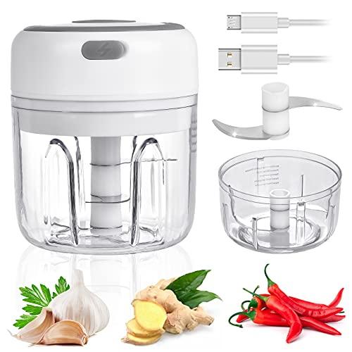 WZTO Cortador de cebolla, 2 en 1 mini Picadora Eléctrica de Cocina, Procesador de Alimentos con USB Recargable, Picadora de Carne, Multipicadora Eléctrica para Verduras, Frutas y Carne