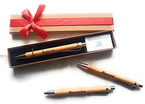 Penna Personalizzata a Sfera Legno Bambu' con Incisione Nome Regalo Laurea Comunione Compleanno con Scatola Bomboniera per Cerimonia Regalo Maestra Natale