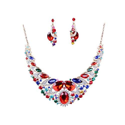 Generic Décoratives Parures de Mariée en Cristal Strass Collier Boucle d'Oreille Set de Bijoux pour Mariage Anniversaire - Multicolore