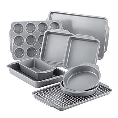 Farberware 46650 Nonstick Bakeware Set with Nonstick Bread Pan, Baking Pans, Cookie Sheet / Baking Sheet, Cake Pans and Muffin Pan / Cupcake Pan - 10 Piece, Gray