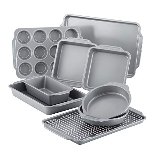 Farberware Nonstick Steel Bakeware Set with Cooling Rack, Baking Pan and Cookie Sheet Set with Nonstick Bread Pan and Cooling Grid, 10-Piece Set, Gray