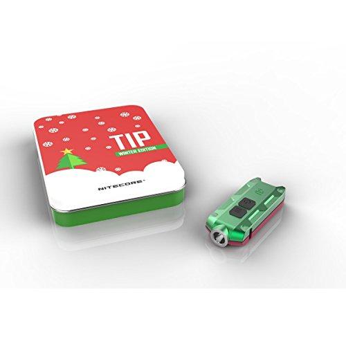 Pointe Nitecore CREE XP-G2 360 Lumens Version de Noël vacances cadeau Mini Porte-clés lampe de poche batterie inclus, green/red body