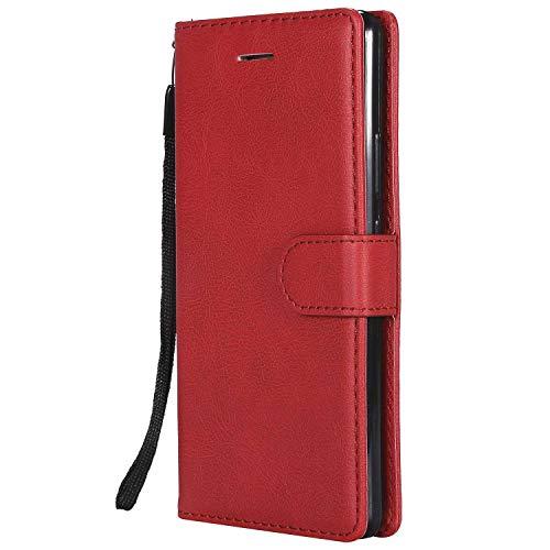 DENDICO Cover Huawei P9 Lite, Premium Portafoglio PU Custodia in Pelle, Flip Libro TPU Bumper Caso per Huawei P9 Lite - Rosso
