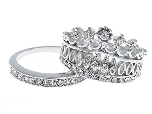 Cosanter 2 Piezas joyería de la Manera Reina Fiesta Dulce Rhinestone Anillo de la Corona Valor de Dos Conjuntos Anillos Corona de Diamantes de imitación