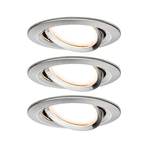 Paulmann 93447 Einbauleuchte LED Coin Nova rund 6,5W Eisen 3er-Set schwenkbar IP23 sprühwassergeschützt