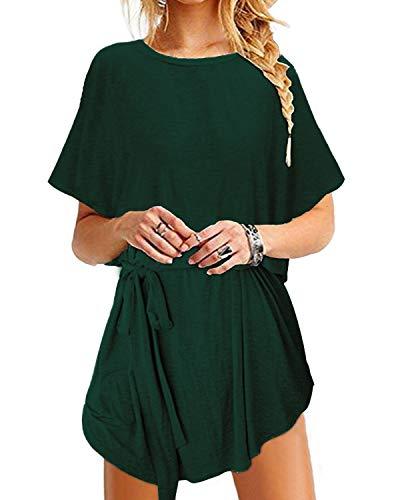 YOINS Sommerkleid Damen Tunika Tshirt Kleid Bluse Kurzarm MiniKleid Boho Maxikleid Rundhals ,Bindegürtel-grün,UK 22,US 18,CN XXL, EU50
