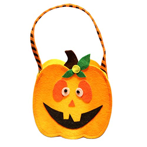 VOSAREA 1 unid Bolsa de Dulces de Halloween Tela no Tejida portátil Naranja Lindo patrón de Calabaza Suministros de Fiesta para niños niños Estudiant