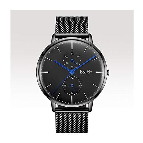 Orologio da uomo Reloj Ultra Delgado para Hombre, Relojes de Pulsera para Hombres, Reloj de Cuarzo Informal Impermeable para Hombres con Banda de Malla de Acero Inoxidable (Color : B)