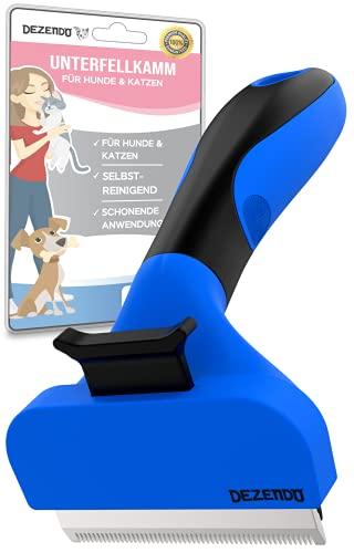 DEZENDO® Unterfellkamm mit Edelstahlklingen | für Hunde & Katzen mit MITTEL- & KURZHAAR | sichere Fellpflege mit unserer Unterfellbürste | Fellbürste & Katzenbürste & Hundebürste for easy groom