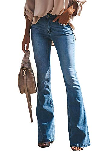 Minetom Schlaghosen Damen Jeans Hosen Stretch Skinny Destroyed Style Denim Jeanshose Retro Hohe Taille Flared Pants Blau XXL