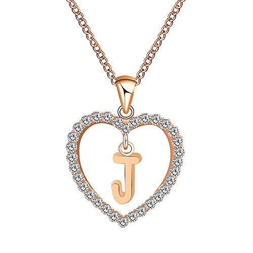 Initial Letter Necklaces, Women's 26 Letter A-Z Diamond Love Heart Necklace and Elegant Rhinestone Pendant Personalised Christmas Valentine's Day Jewelry Gift for Ladies Girls