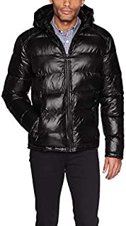 GUESS mens Mid-weight Puffer Jacket With Removable Hood