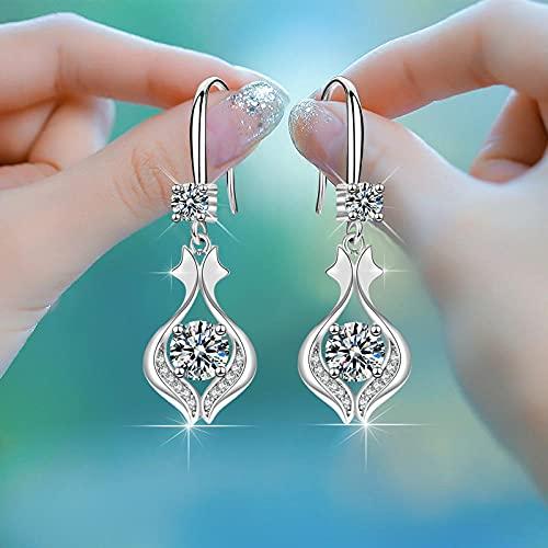 XAOQW 925 Sterling Silver Temperamento Elegante Personalidad Pendientes De Fiesta de Las Mujeres-Blanco