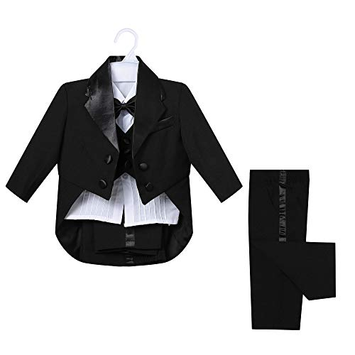 LEON KIDS Baby Boys' Classic Tuxedo with Tail Wedding Outfits Suit 5 Piece Set (Black, 12M)