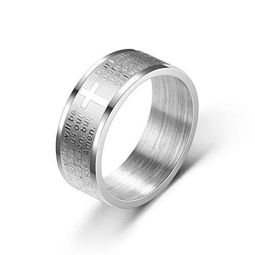 8mm Titanium Stainless Steel English Letter Lord's Prayer Ring Men's Bible Cross Rings For Women Men Jesus Christian Jewelry 7 Silver Color