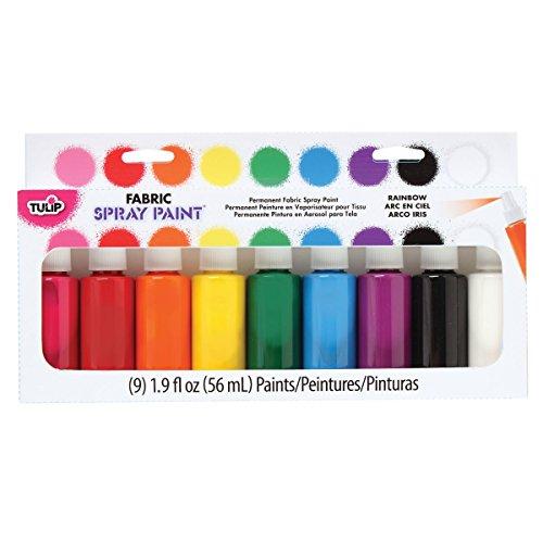 Tulip Permanent Fabric Spray Paint, 9 Pack, Rainbow, Nontoxic, Non-Aerosol