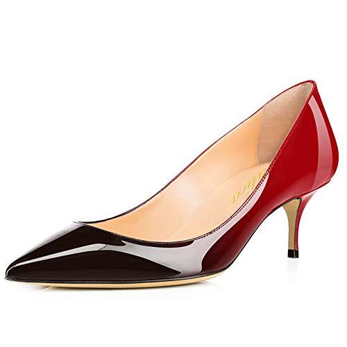 Damen Spitze Lackleder Eleganter Komfort Slip On Kitten Heel Kleid Pumps Schuhe Rot-Schwarz Größe 42