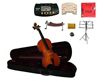 """Merano 11"""" Student Viola with Case and Bow+Extra Set of Strings, Extra Bridge, Shoulder Rest, Rosin, Metro Tuner, Black Music Stand, Mute (B006WHRZHG)   Amazon price tracker / tracking, Amazon price history charts, Amazon price watches, Amazon price drop alerts"""
