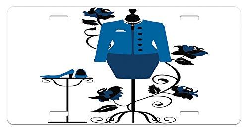 Ambesonne Heels and Dresses Nummernschild, Schaufensterpuppe im Schneidershop mit blühender Blume, Retro-Stil, Hochglanz-Aluminium, 14,7 x 30 cm, Blau/Schwarz/Weiß