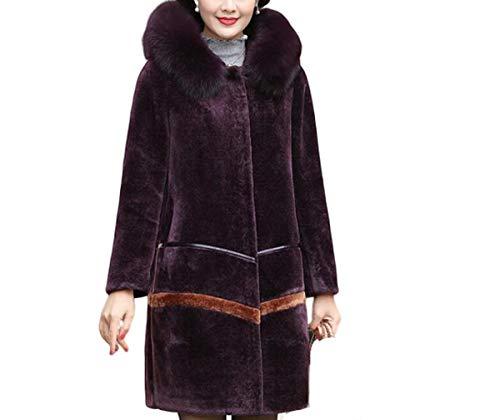 NANXCYR damesjack voor de winter, van leer, effen kleur, voor de winter, lange mouwen, van kunstleer, met zakken