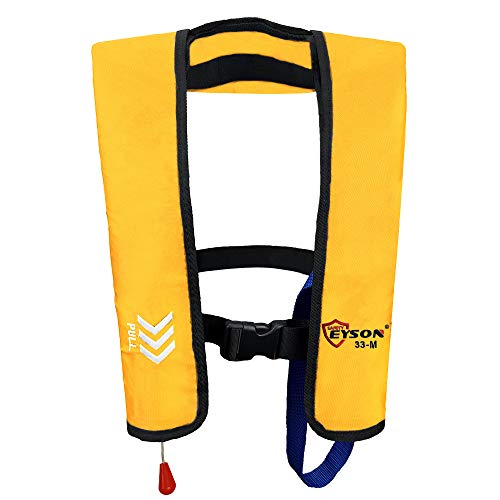 Eyson Basic Inflatable Life Jacket Life Vest Manual for Adults (Yellow)