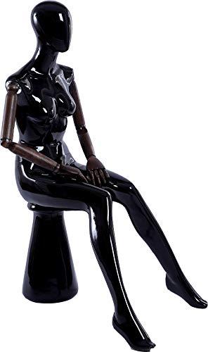 Belle abstrait noir brillant laqué verstellte mannequin vous les bras et les mains en bois standplatte en acier inoxydable H5H-M