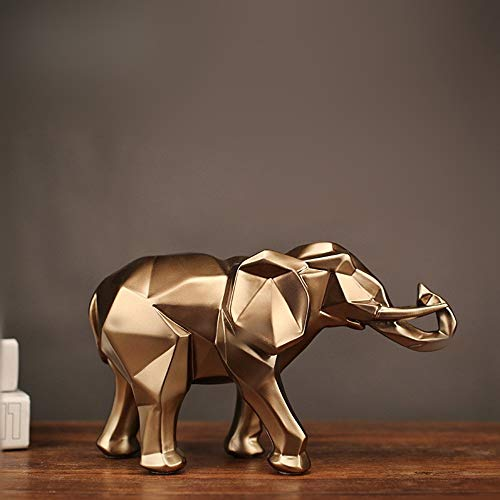 KUAQI Boda Decoracion Figuras de Grandes Salon candelabros Jardin Exterior,Adorno de Resina de Estatua de Elefante Dorado Abstracto Moderno decoración del hogar