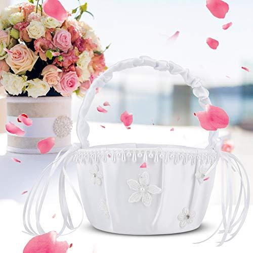 Jiawu Cestas de Flores para niñas, cestas de Flores, prácticas cestas de Flores para niñas, cestas de Flores para Bodas al Aire Libre, Bodas en Interiores