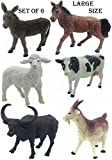 SaleOn 6pc Large Size Farm-Life Farm Animal with Detailing , Children Puzzle Early Education Gift Mini Jungle Animal Toy Set Realistic Animal Figures Toys for Kids (1399)