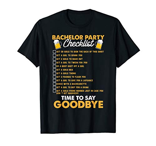 Bachelors Party Checklist Tshirt Stag Do Party Tee