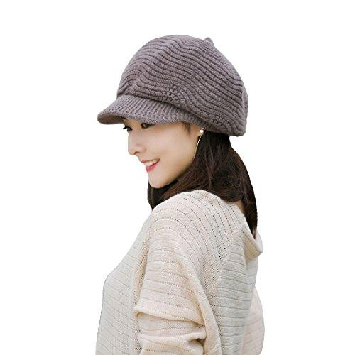 Khaki Cotton Peaked Cap Knitted Beret Woolen Scarf Korean Style Extra Thick Headband Outdoor Autumn Winter Warm Fashion Warm Hats