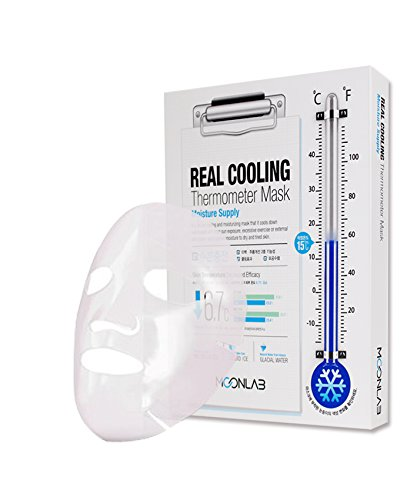 [MOONLAB] REAL COOLING Thermometer Sheet Mask Moisture Supply - Ultra Cooling on the Skin, Relieves Overheated and Tired Skin, Bio-Cellulose Sheet, 25ml Pack of 4pcs