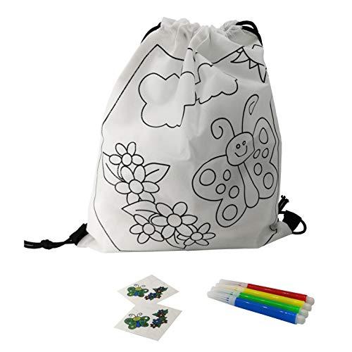 Fun Fan Line® - Set mit kinderrucksäcken zum bemalen + temporären Tattoos. Ideale verpackungen für Geschenke und Partys für Kindergeburtstage. (Schmetterling, 20 kinderrucksäcken)