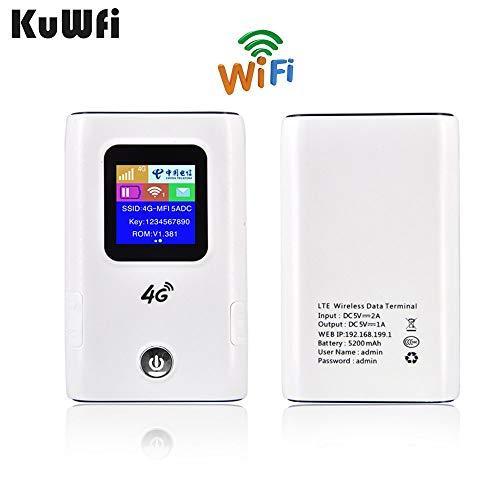 KuWFi mobiele WLAN-router, 5200 mAH draagbare powerbank en 150 Mbps cat4 draagbare 3G 4G draadloze router mobiele wifi-hotspot met simkaartsleuf