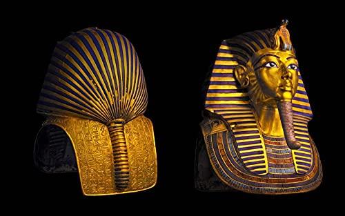MX-XXUOUO 1000 Piezas de Rompecabezas de Madera para Adultos y niños,Puzzle de Paisaje y Viaje,Egipto El Cairo Museo Faraón Tutankamón máscara Fondo Negro