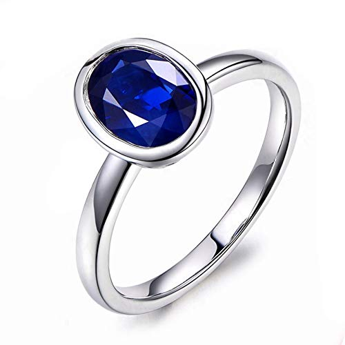 AueDsa Silver Ring 925 Women,Sapphire Ring for Women Sterling Silver Oval 7X9MM Sapphire Blue Ring Size S 1/2