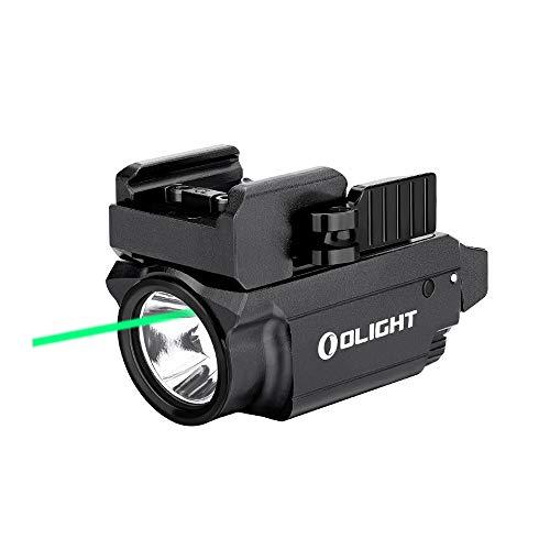 Olight Baldr Mini Pistolet Lampe Tactique Militaire Avec Pointeur Laser Vert Réglable Puissant 600 Lumens Rail Réglable Pour Chasse Compatible avec Rail Picatinny et GL Noir