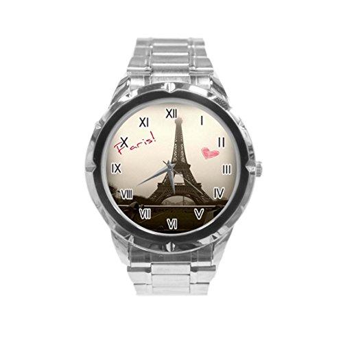 Eiffel Tower-Paris - Reloj de pulsera para hombre (acero inoxidable)