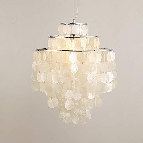 LIXDD Böhmen Shell Kronleuchter, Nordic Weiß Natürliche Muschel Hängen Pendelleuchte Fixture E27 Led-leuchten für Wohnzimmer Schlafzimmer Pendent Beleuchtung