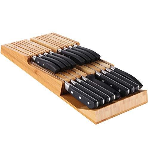 NIUXX Messerblock Messerset Messerhalter Abnehmbarer Messerhalter-Kit in Bambusschublade, Platz für 16 Messer (Nicht im Lieferumfang enthalten), großes abwaschbares Küchenmesser-Aufbewahrungsset