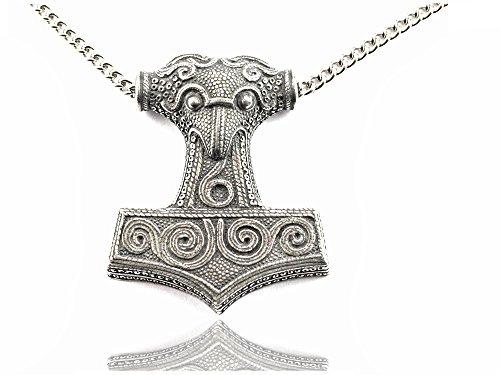 Thorshammer mit Metallkette - Reinzinn - Midgardschlange - Forum Traiani - Amulett aus der germanischen Mythologie