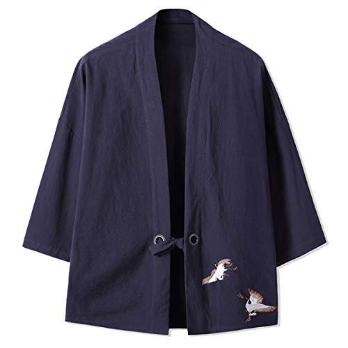 Mirecoo Haori - Chaqueta de kimono para hombre, cuello en V Azul y negro. XXL