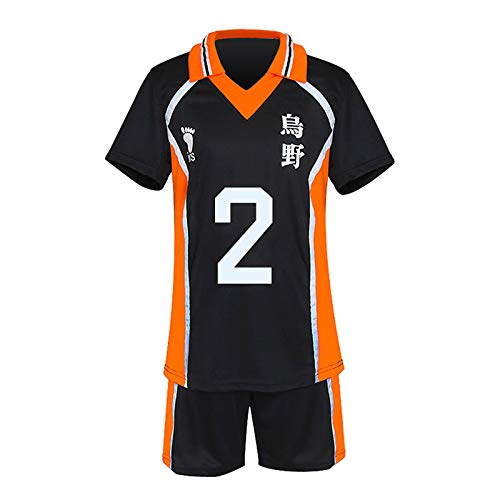 YZJYB Hommes Et Femmes Anime Haikyuu Karasuno High School Volley Ball Club Jersey Sportwear Sugawara Koushi Manga Dessin Cosplay Haut Vêtements Sport Ensembles,L