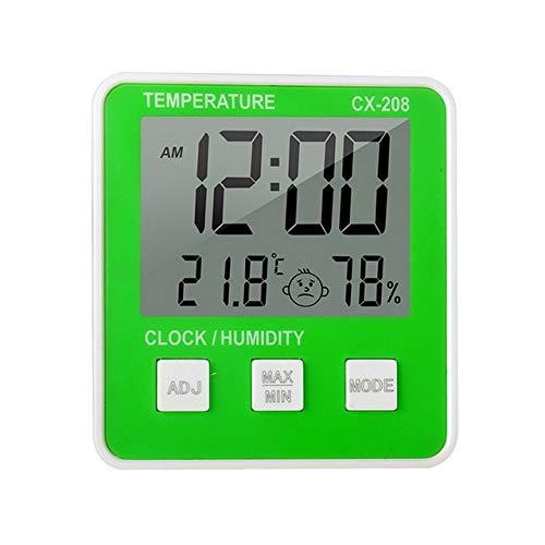 MFQ Temperaturmessgerät1Pcs LCD Digitales Temperatur-Feuchtigkeitsmessgerät Wettervorhersage Innenwetterstation mit Datumskalender Uhr Funktiongrün